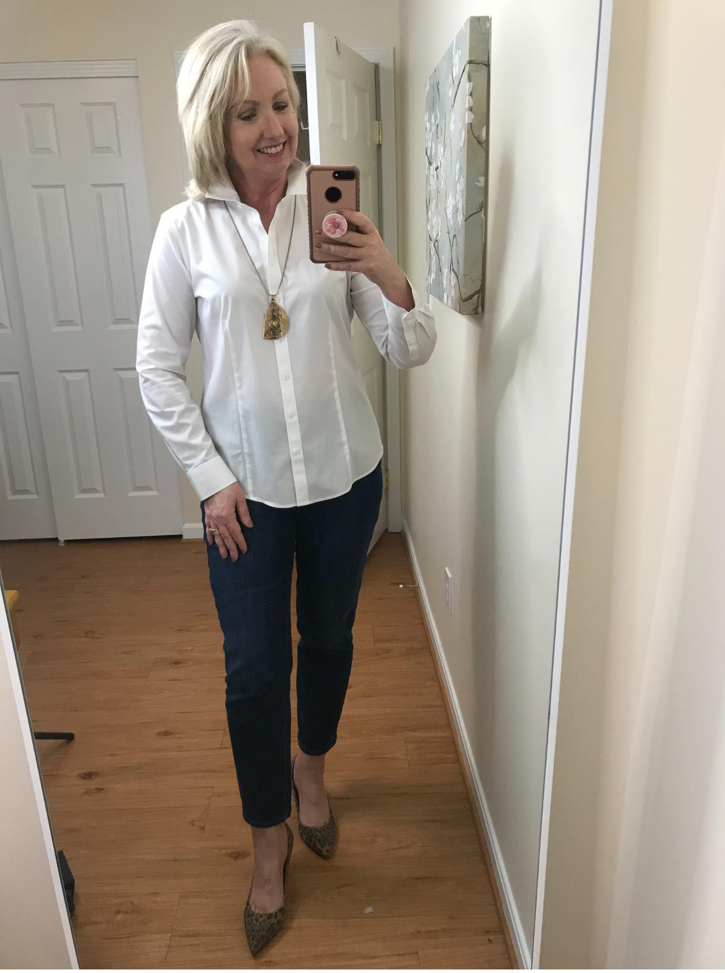 Ankle Jeans White Shirt No Tuck Leopard pumps