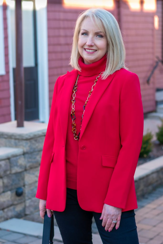 Red Blazer and Red Cashmere Turtleneck