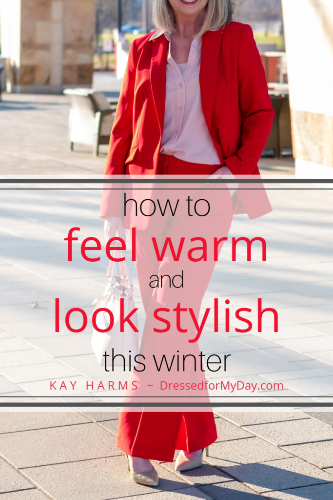 How to Feel Warm + Look Stylish at the Office + 5 Ways to Wear a Red Suit - Red Suit plus Blush
