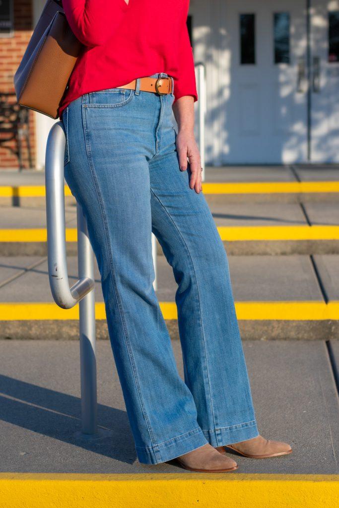 Styling High Waist Flare Leg Jeans