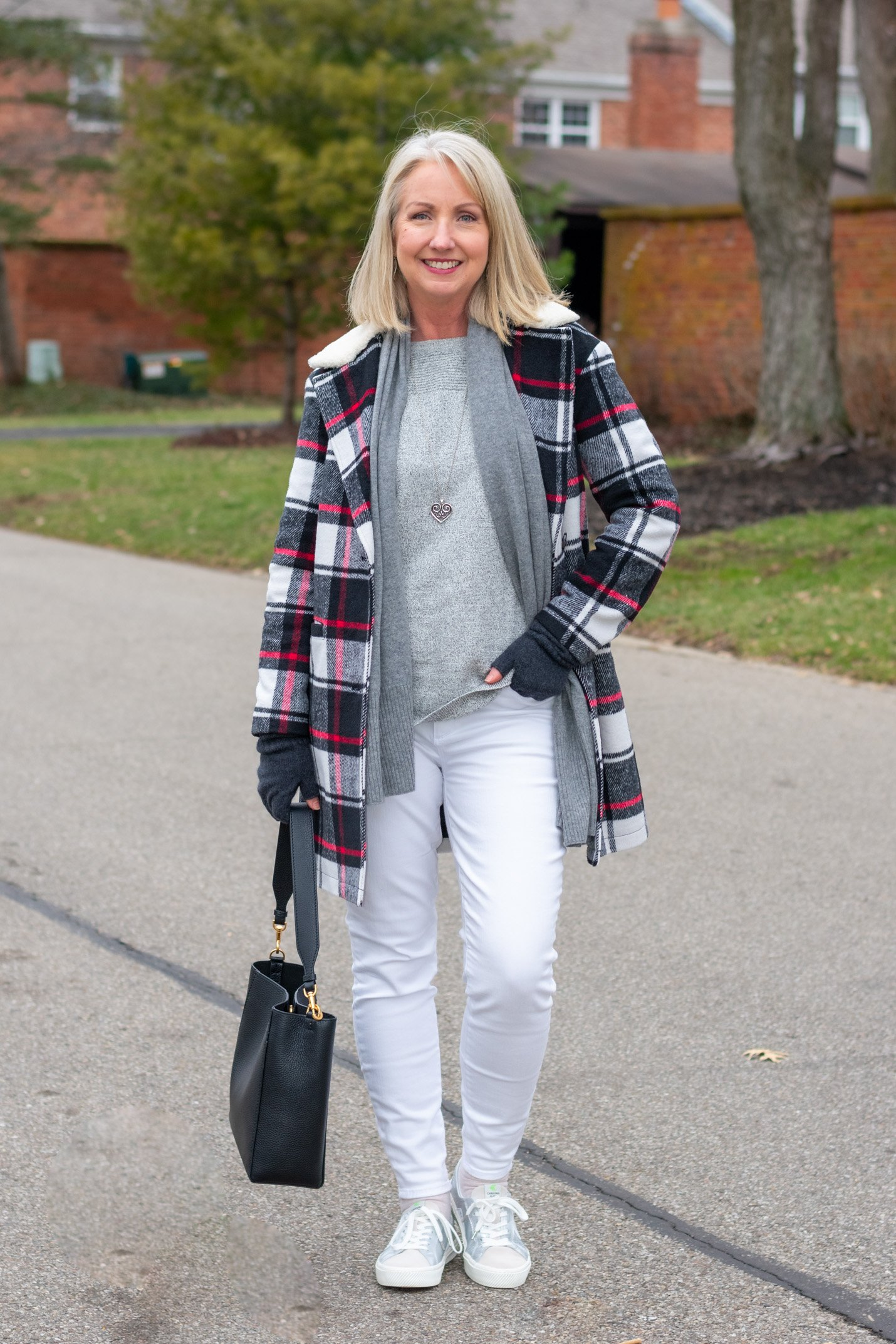 White and Grey with Plaid Coat