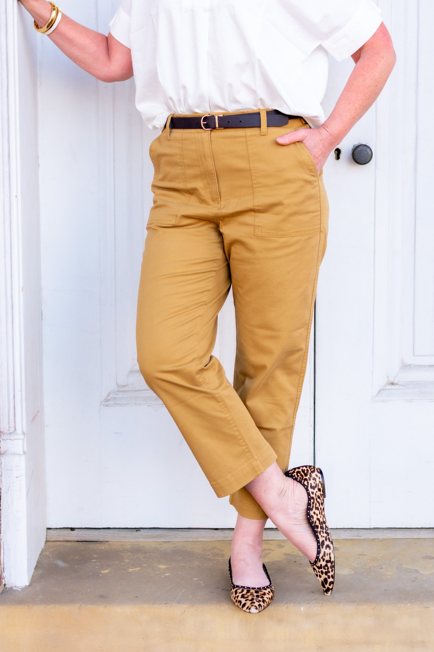 cropped pants with a belt