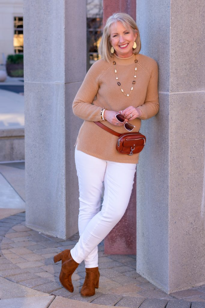 White Jeans and Camel Sweater
