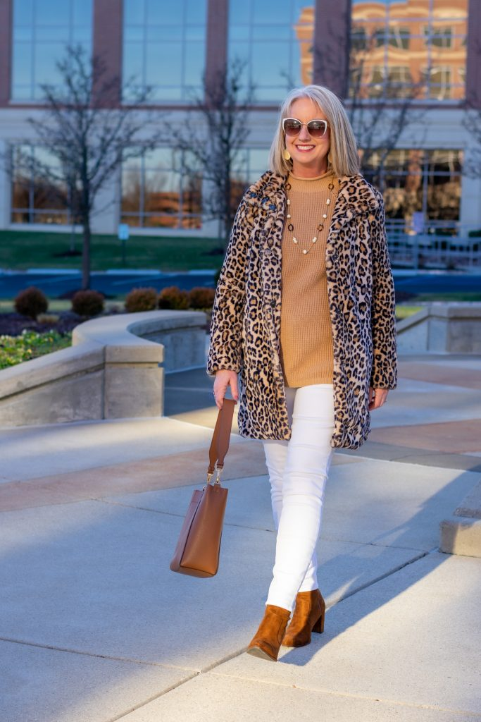 white and camel and leopard