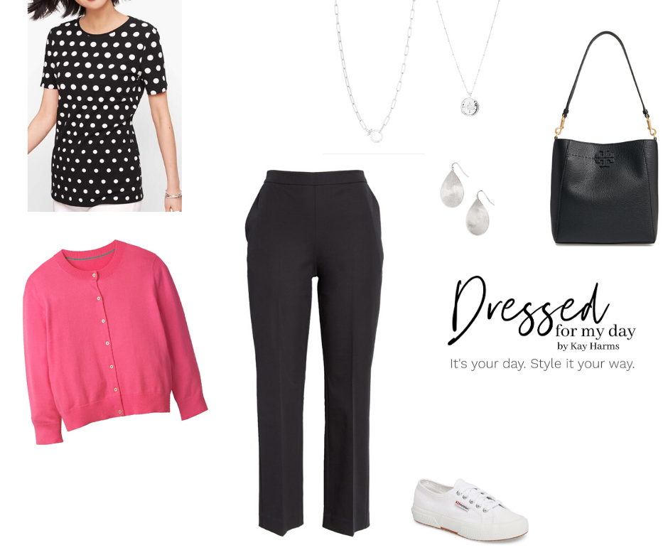 Capsule Wardrobe black pants and pink cardigan