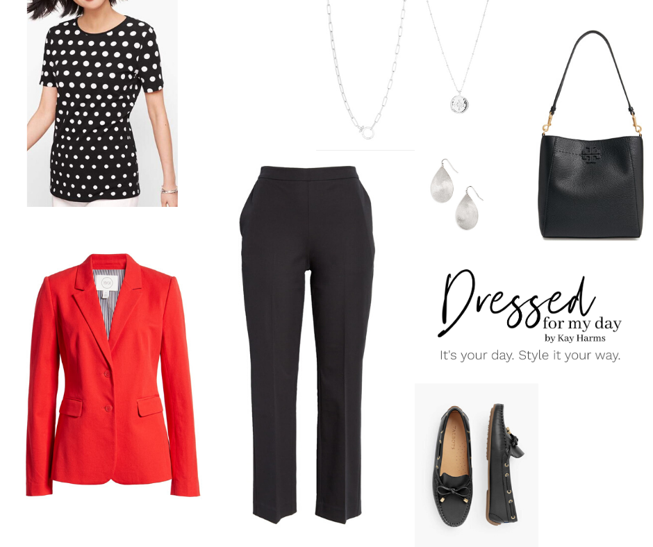 Capsule Wardrobe black pants and red blazer