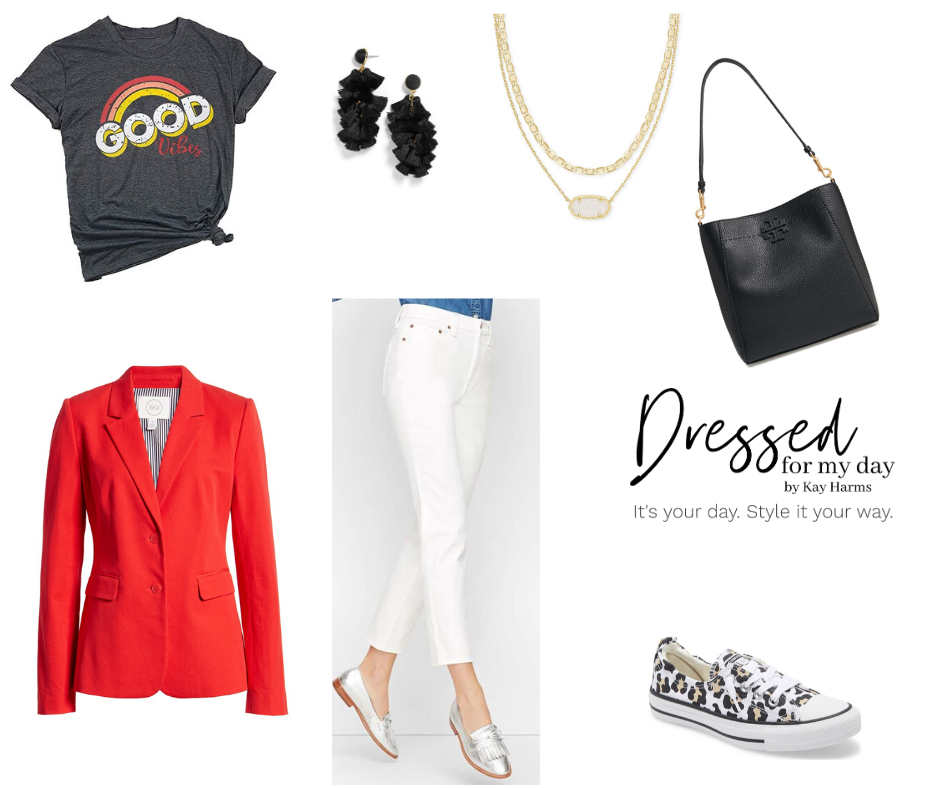 Capsule Wardrobe white jeans and red blazer and graphic tee