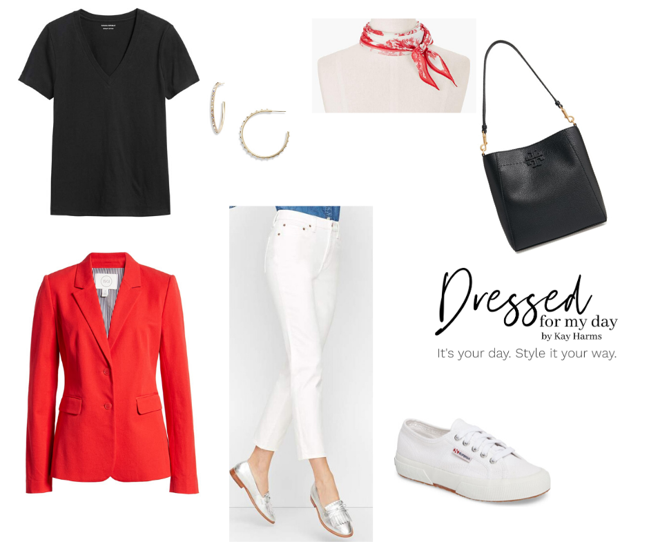 Capsule Wardrobe white jeans and red blazer