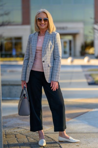 Plaid Blazer and Black Crop Pants for the Office