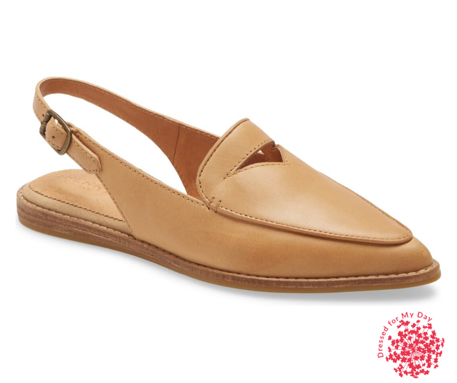 Sperry Saybrook Slingback Mule in tan suede