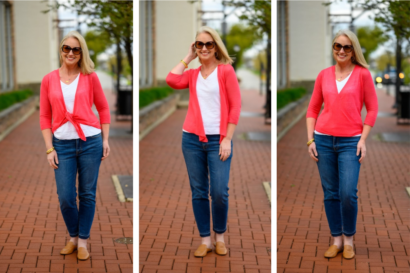 1 Beautiful Spring Sweater Worn 3 Ways trio