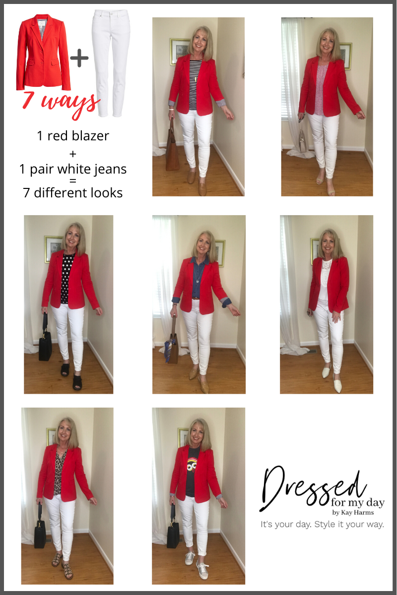1 red blazer 1 pair of white jeans (2)