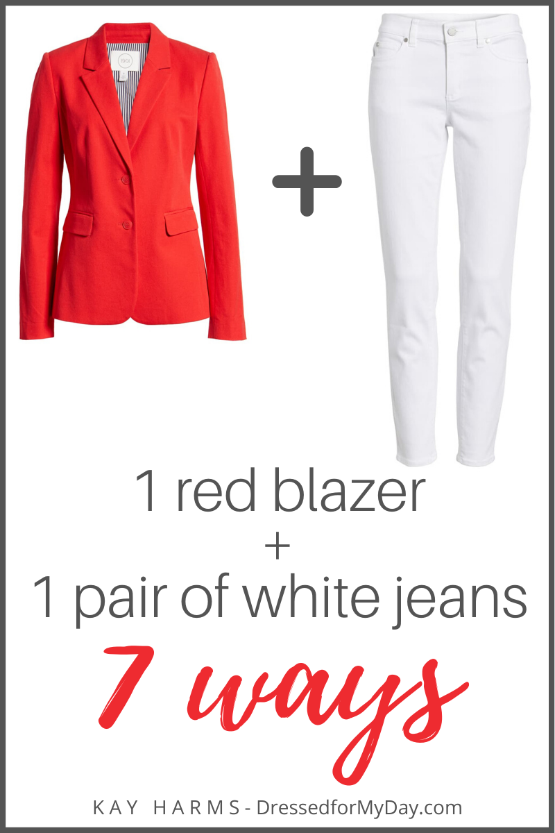 1 red blazer 1 pair of white jeans