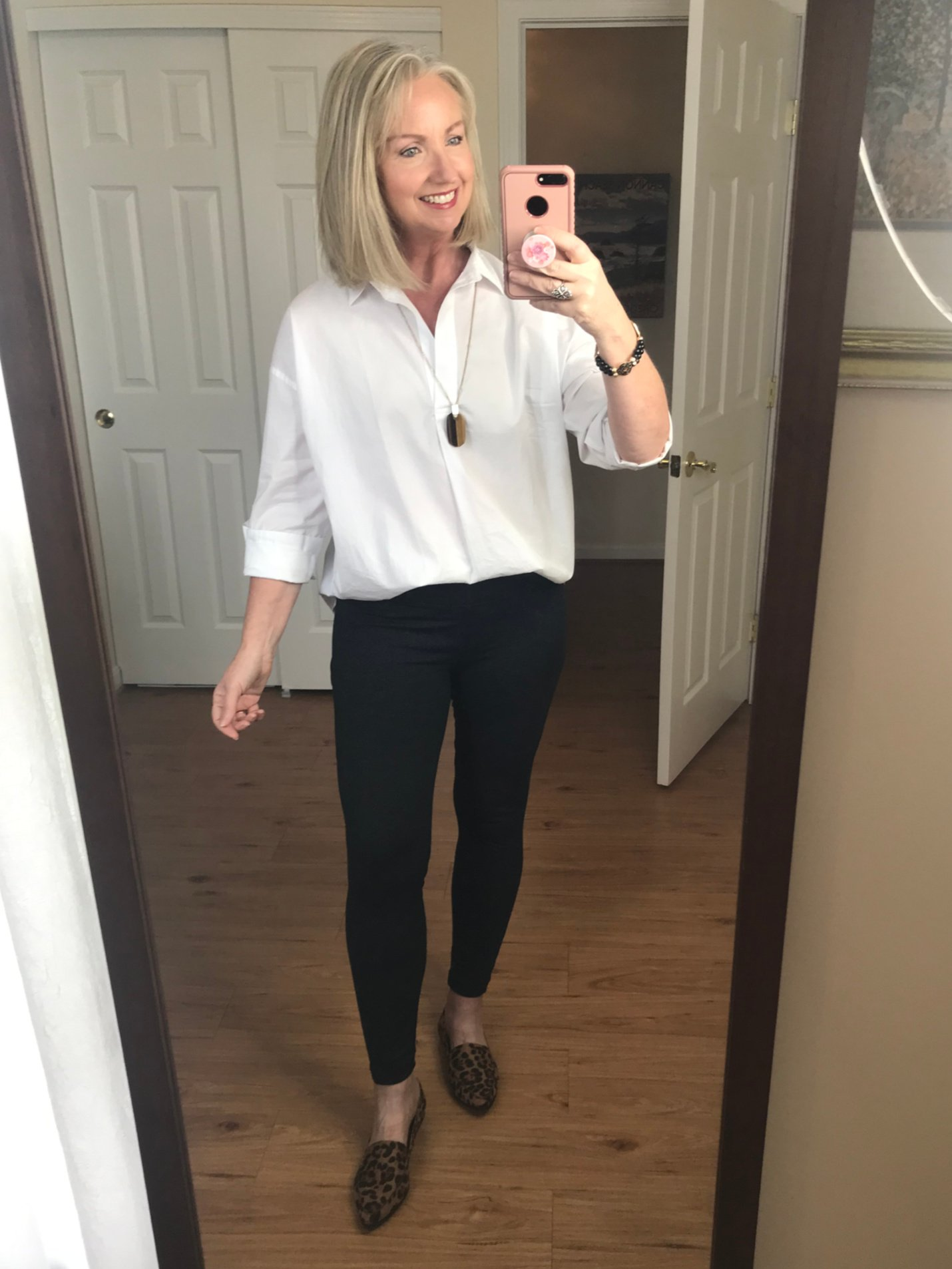 white shirt and leggings