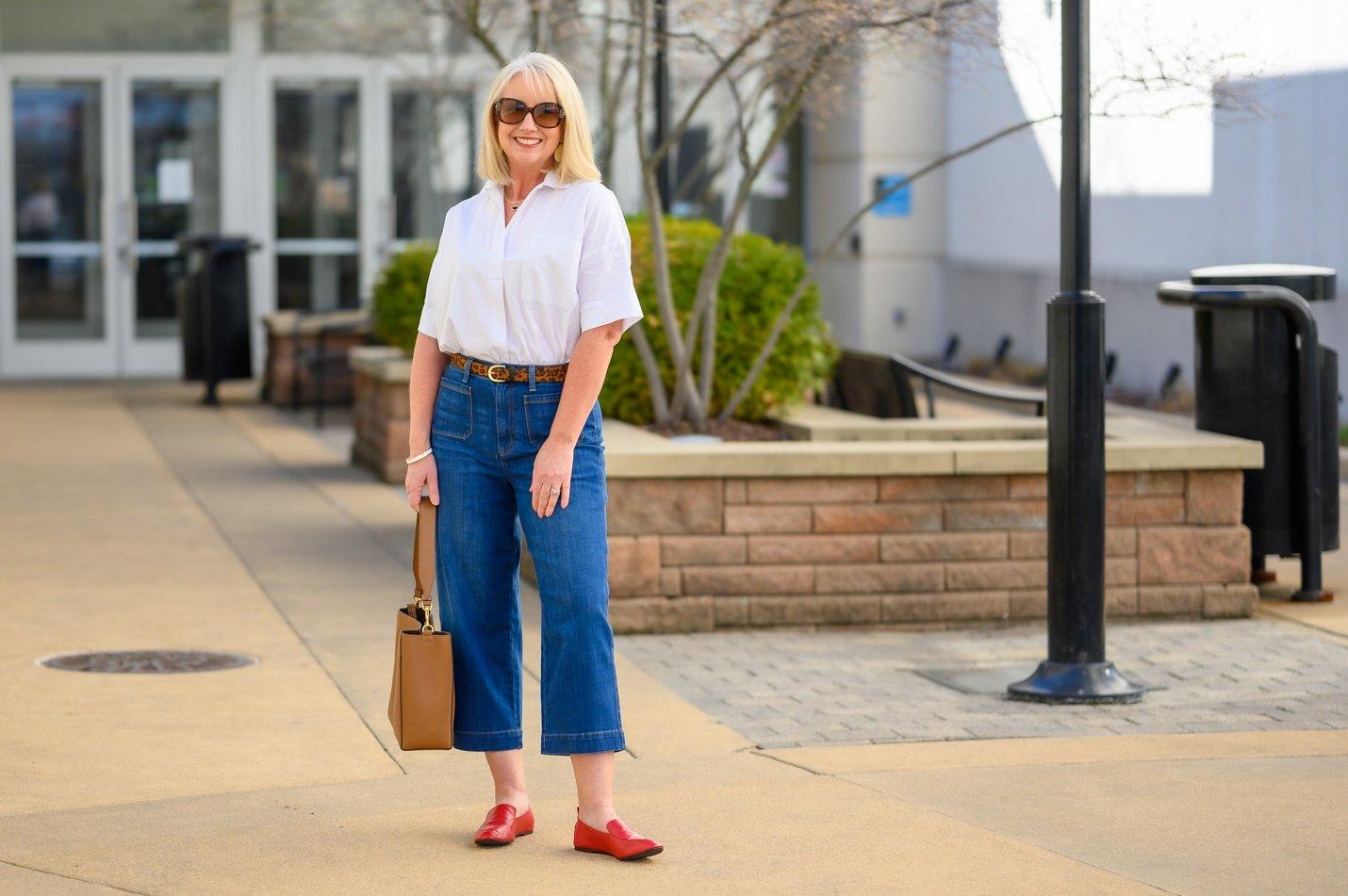 How to Wear Wide Leg Crop Jeans