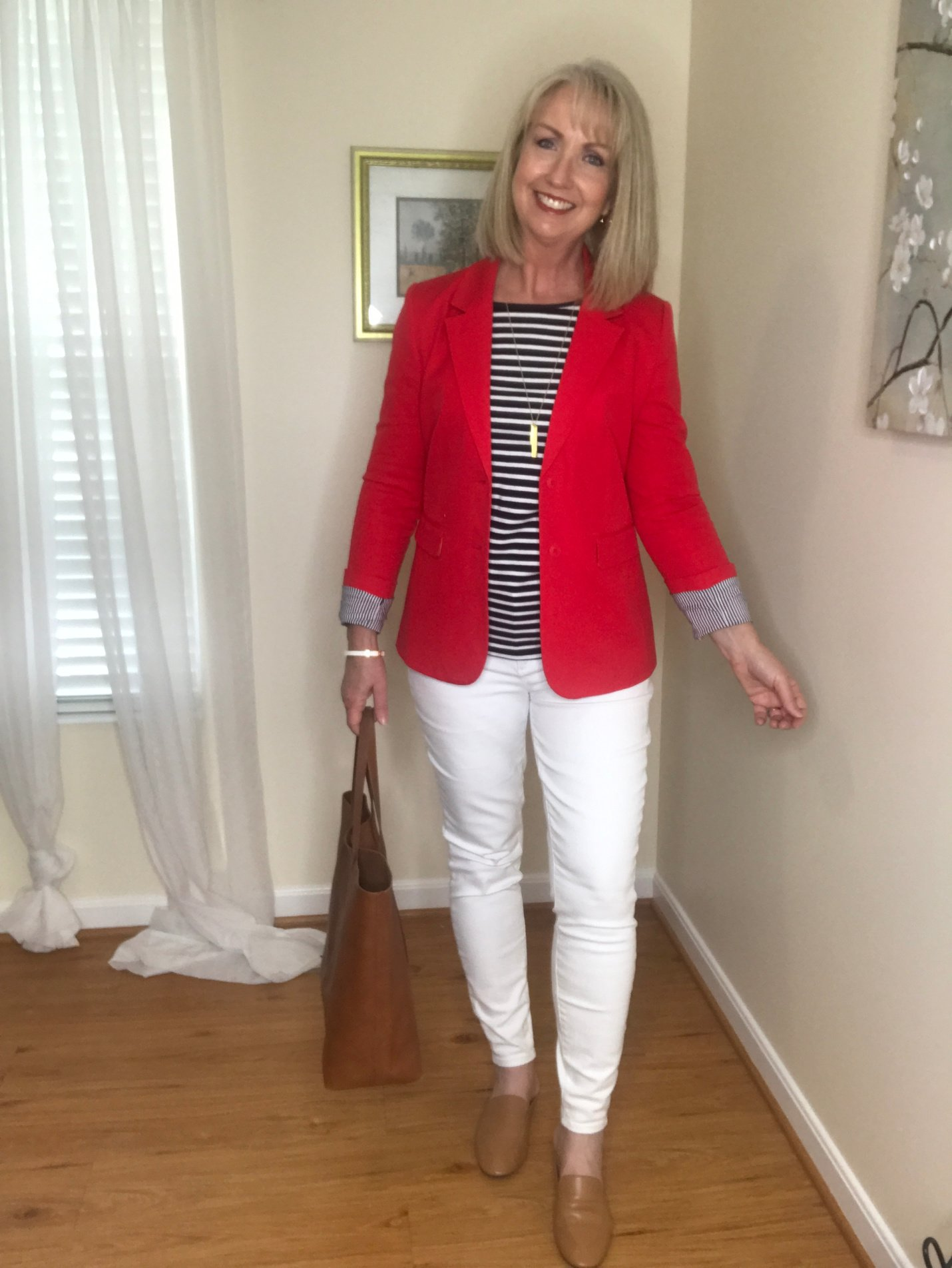 Red Blazer and navy and white striped top