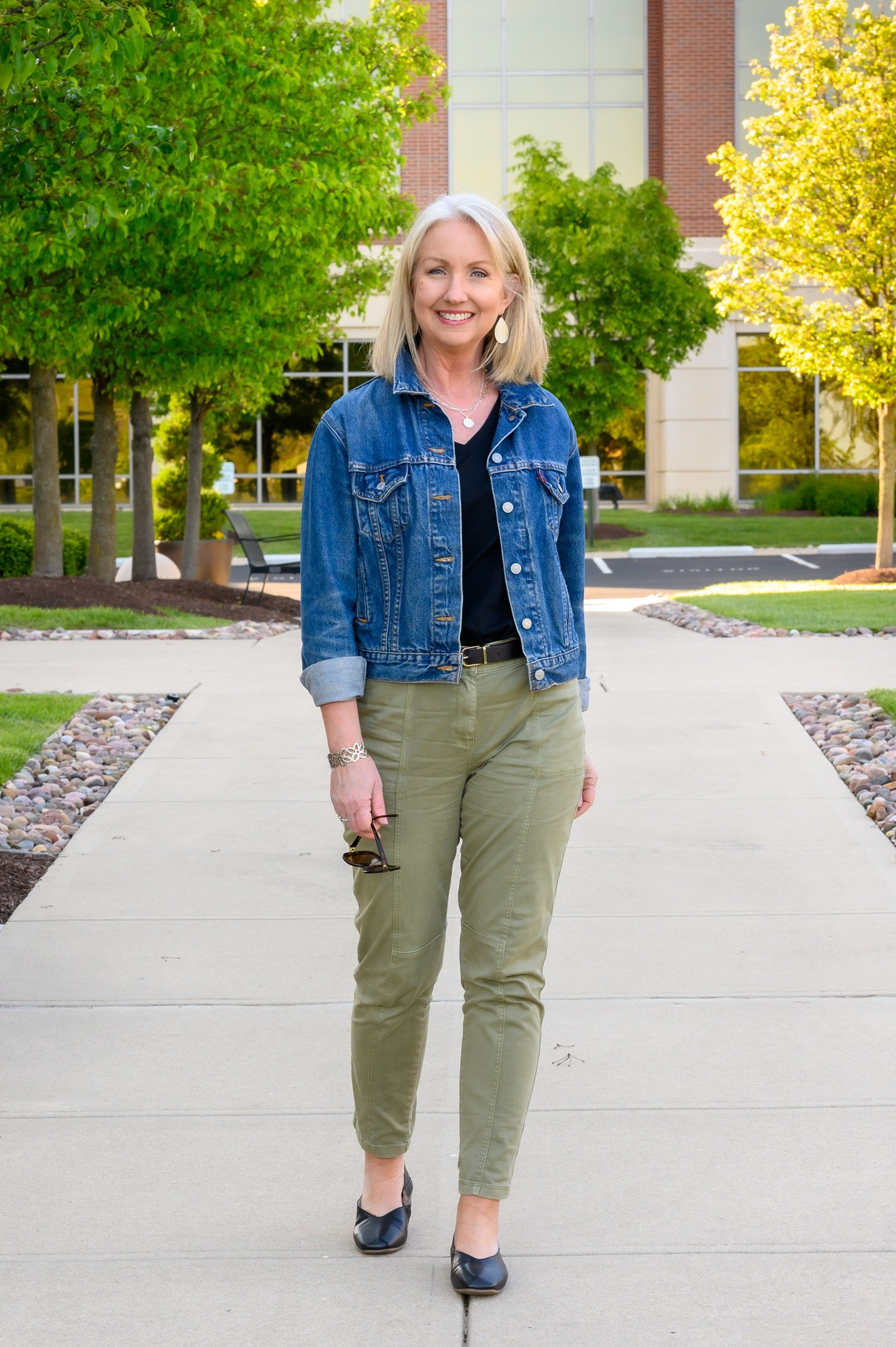 Sage Green Slim Utility Pants 4 Ways