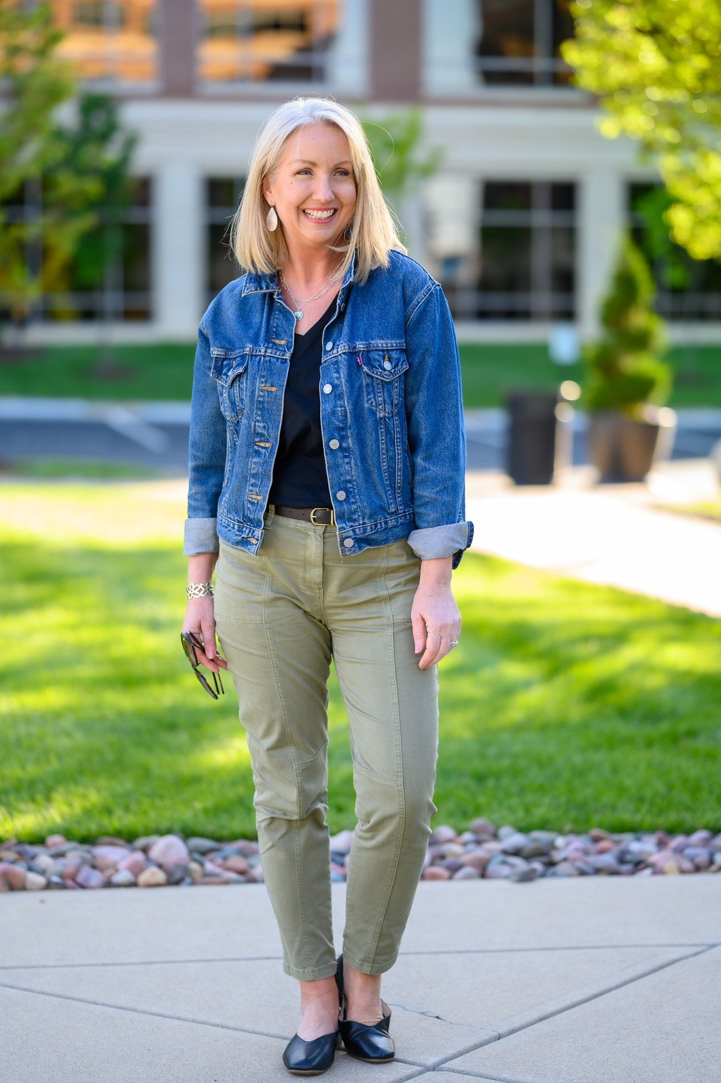 Sage Green Slim Utility Pants 4 Ways