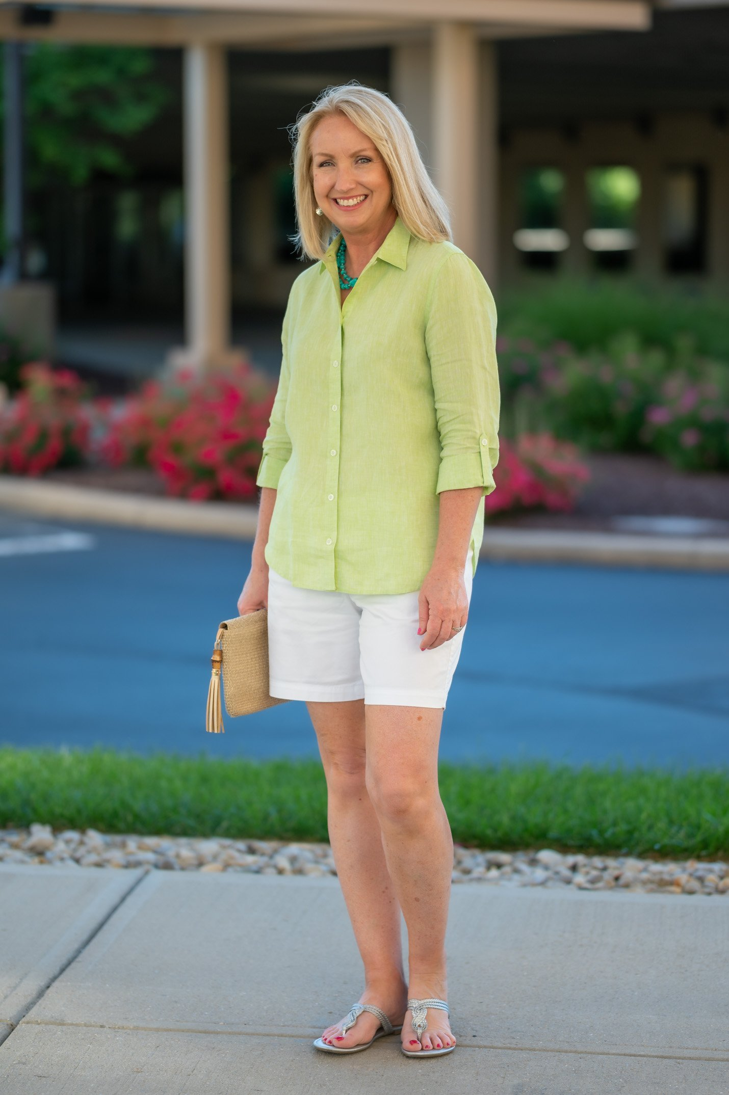 Linen Shirt and White Shorts