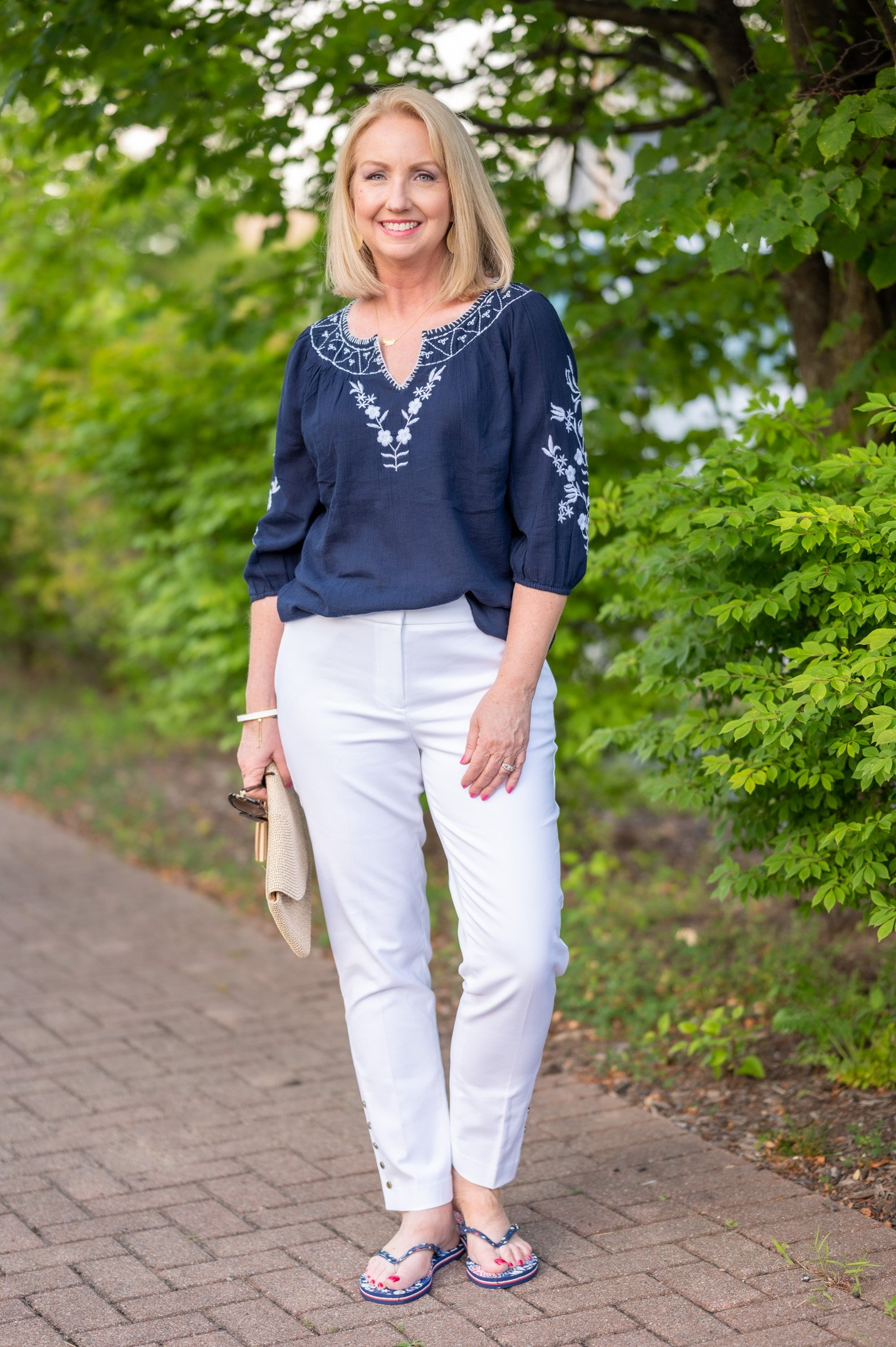 Navy & White Embroidered Top