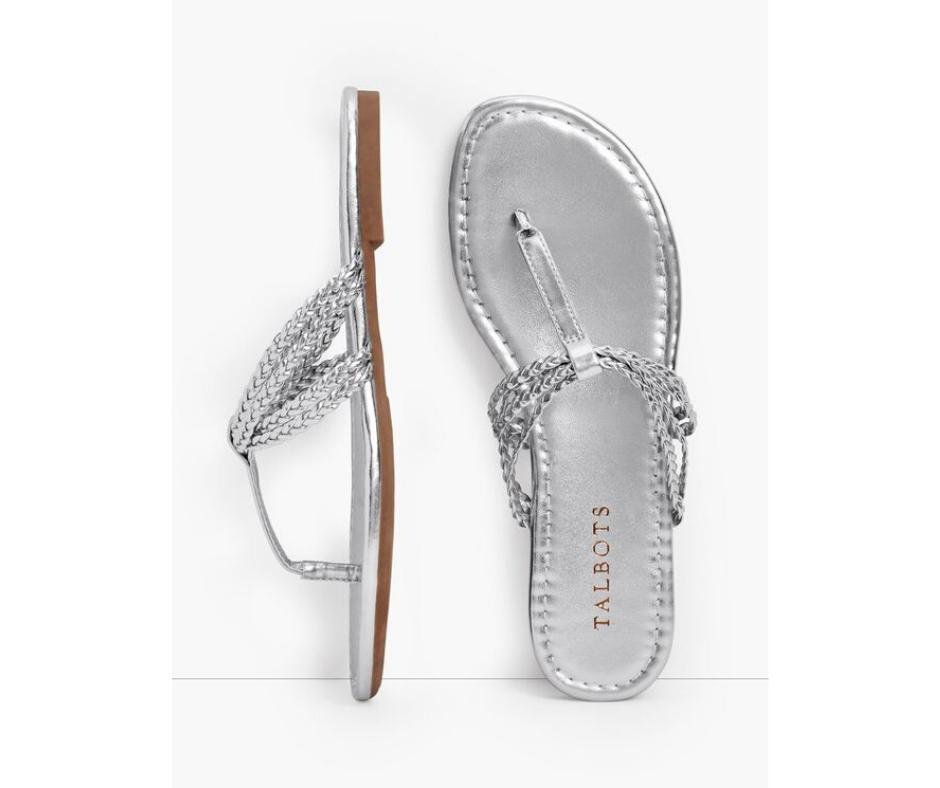 CeCe Braided Metallic Flip Flops