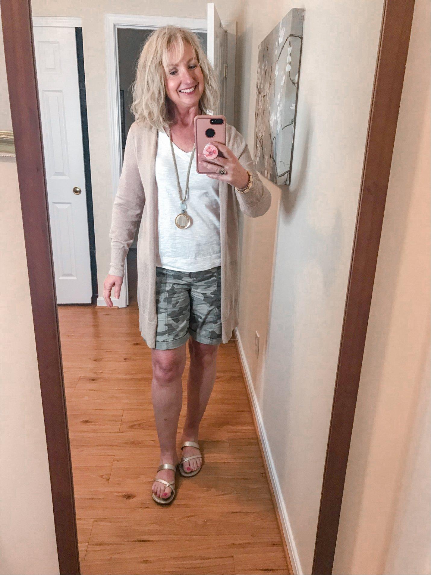 Camo Shorts & White Tank