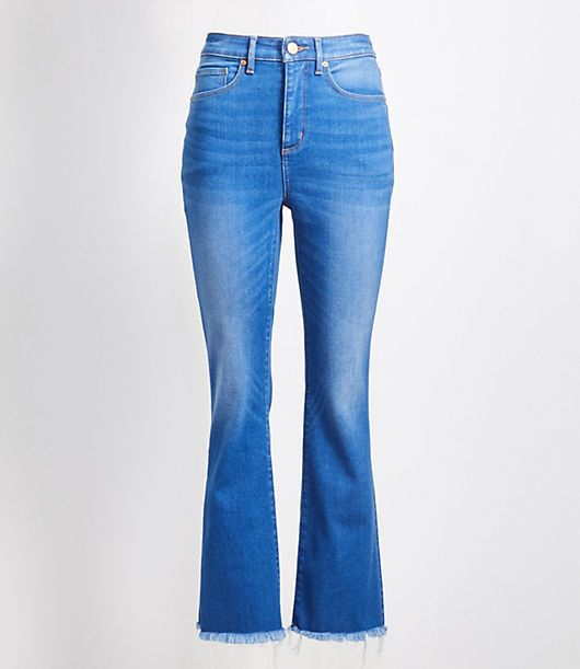 Flare Crop Jeans In Authentic Mid Indigo Wash