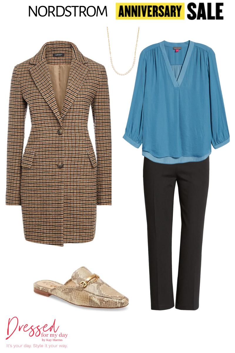 turquoise blouse & coat