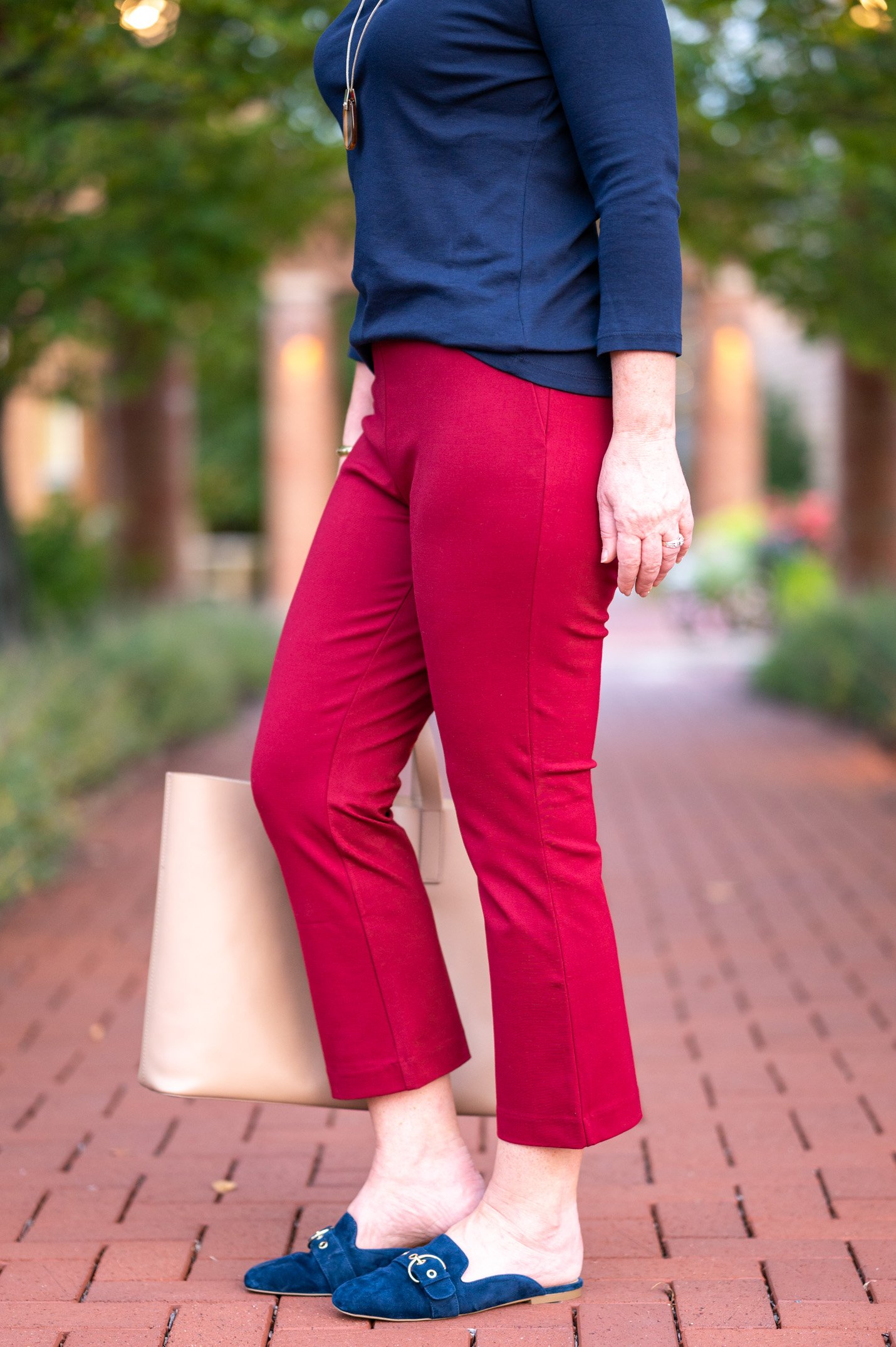red pomegranate kick flare ponte knit crop pants