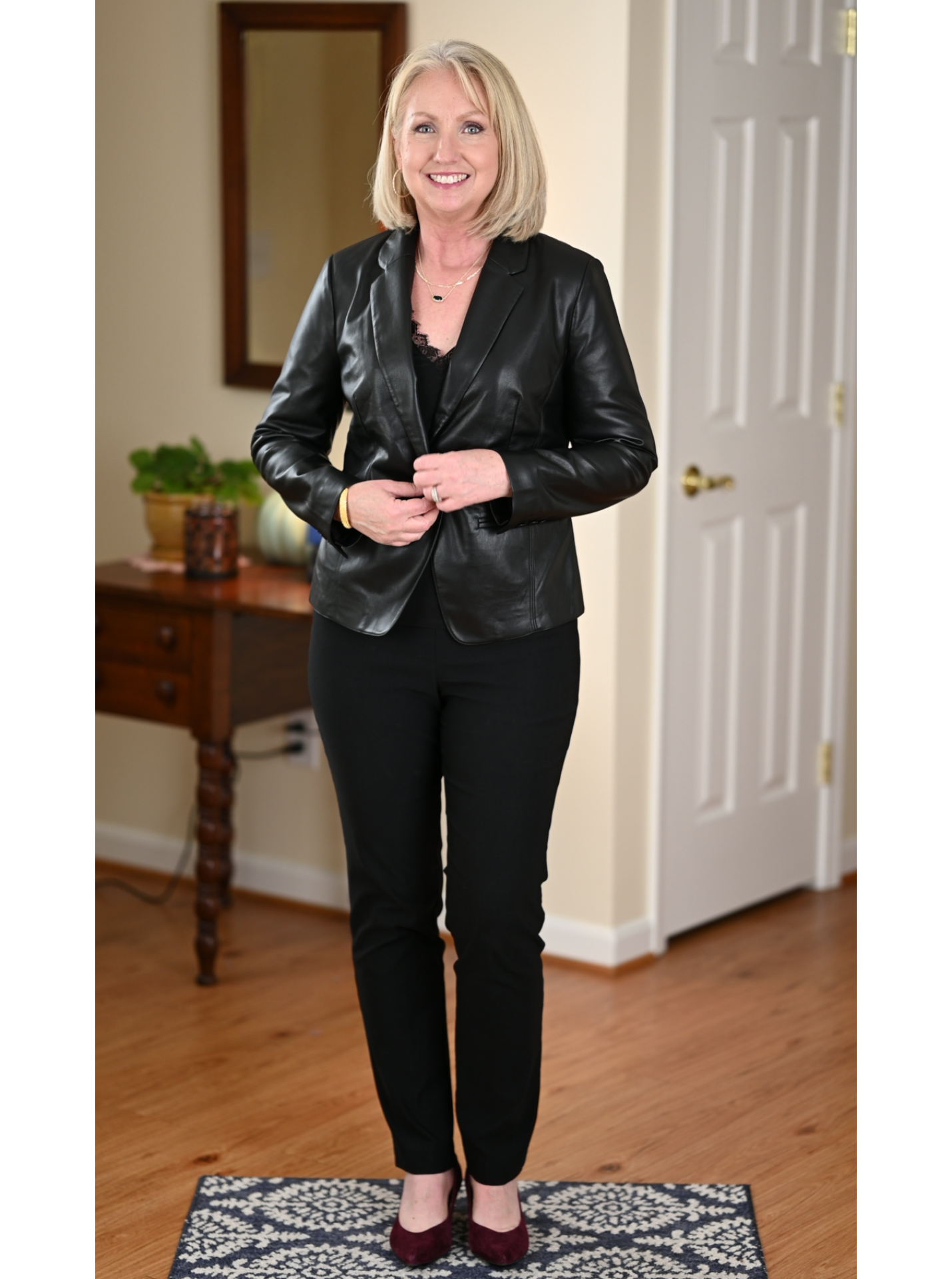 Black Leather Blazer and black pants and cami