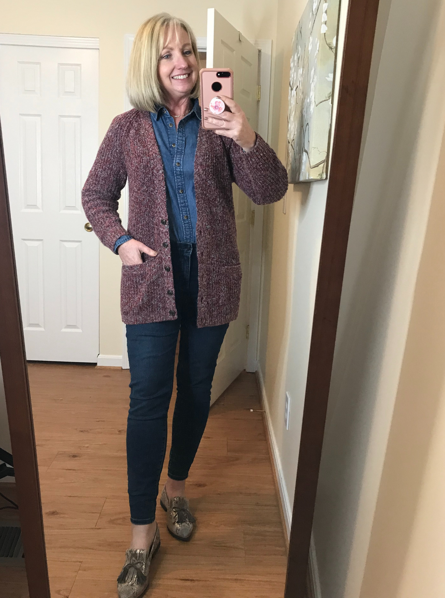 Jeans and Chambray and Cardigan
