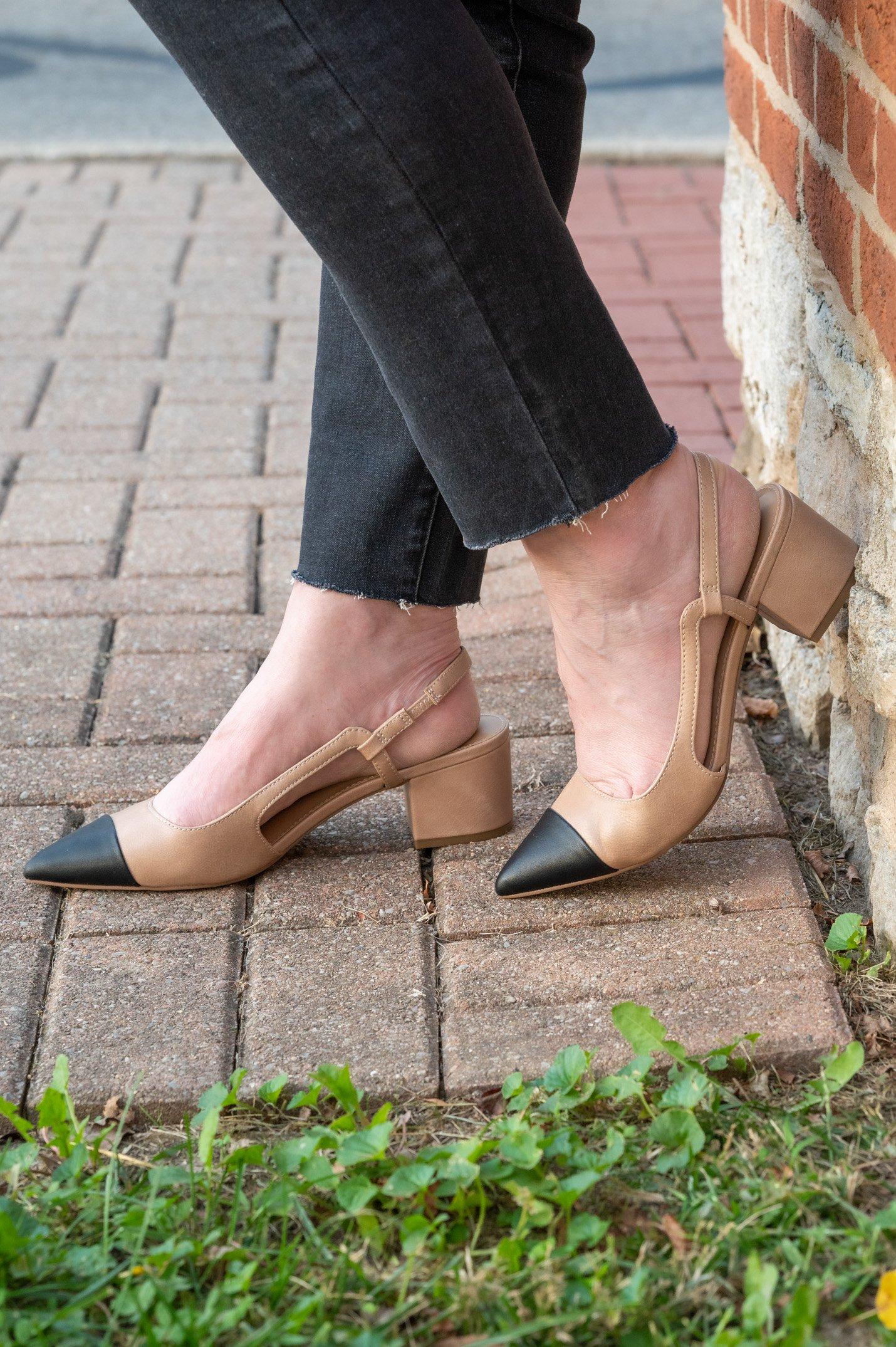 sling-back heels
