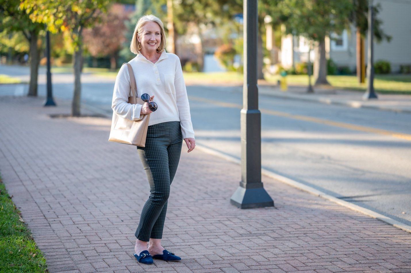 Houndstooth Pants & Cashmere Polo Sweater