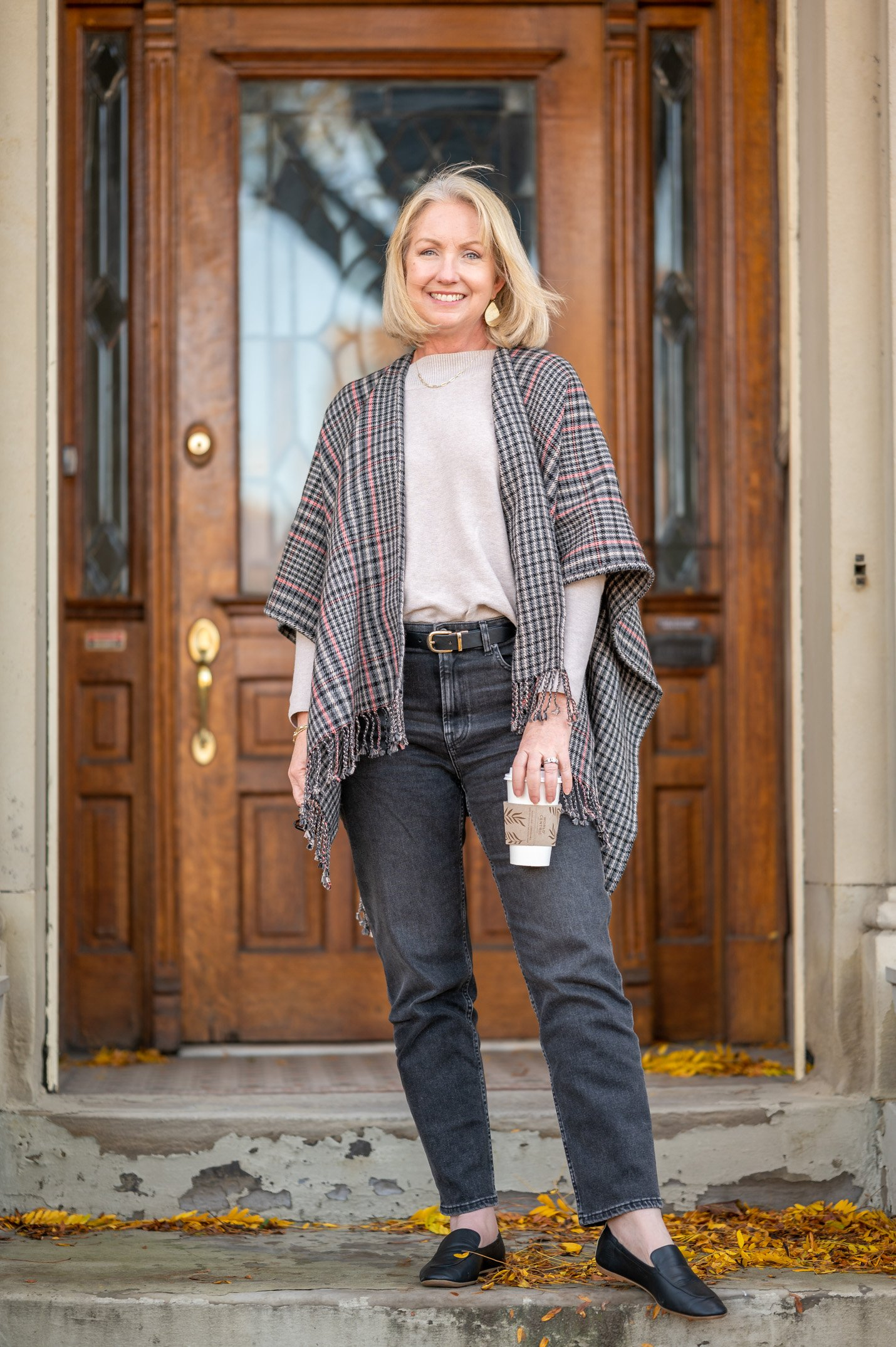 Simple Fall Outfit with Wool Blend Ruana