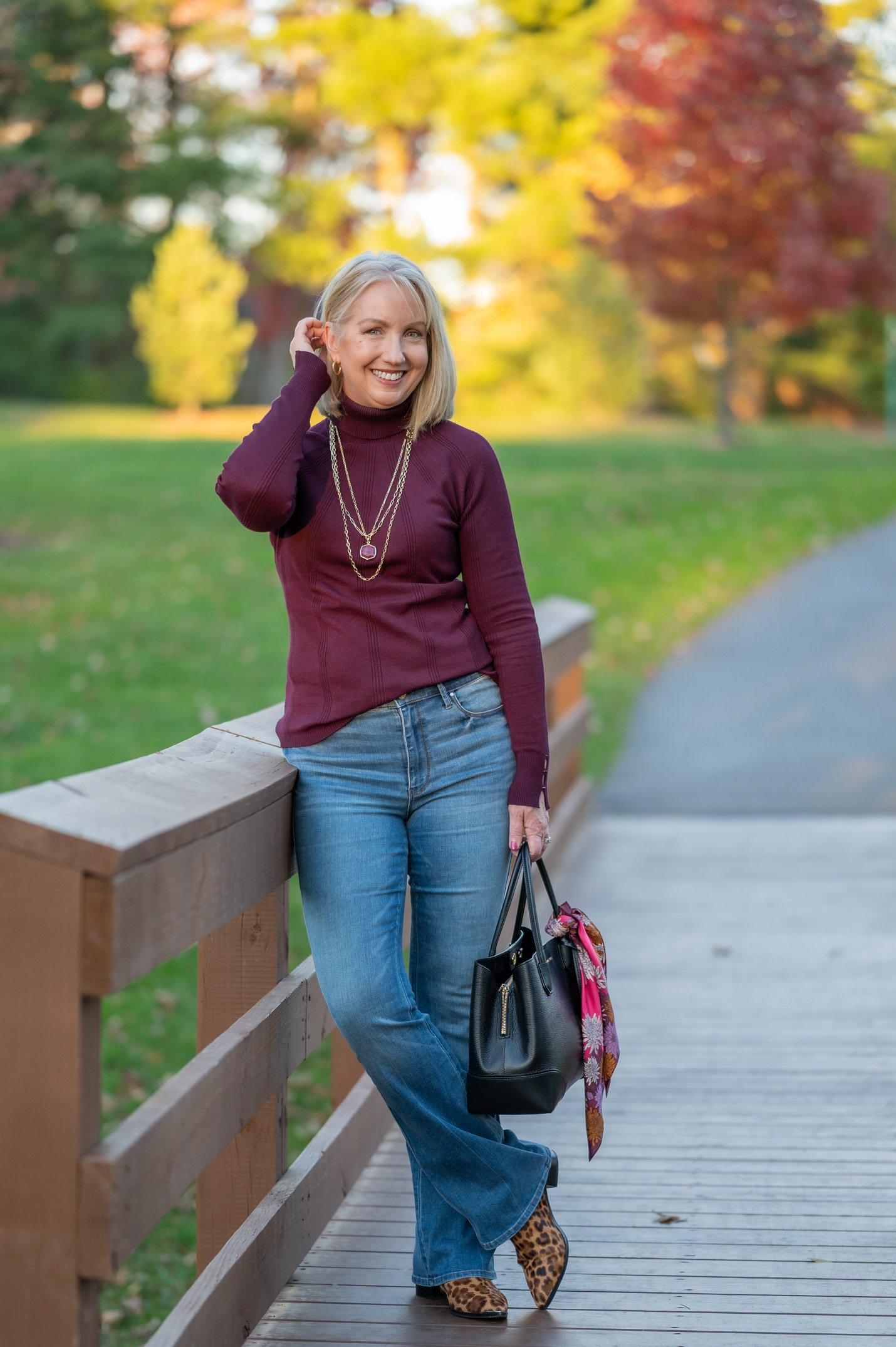 Flare Jeans & Turtleneck Sweater