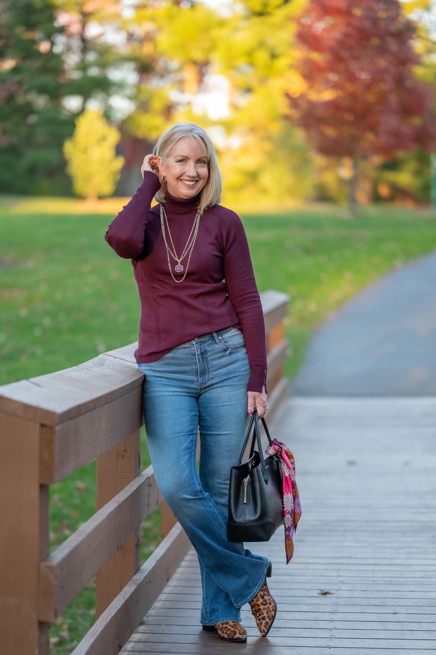 Flare Jeans & Turtleneck Sweater