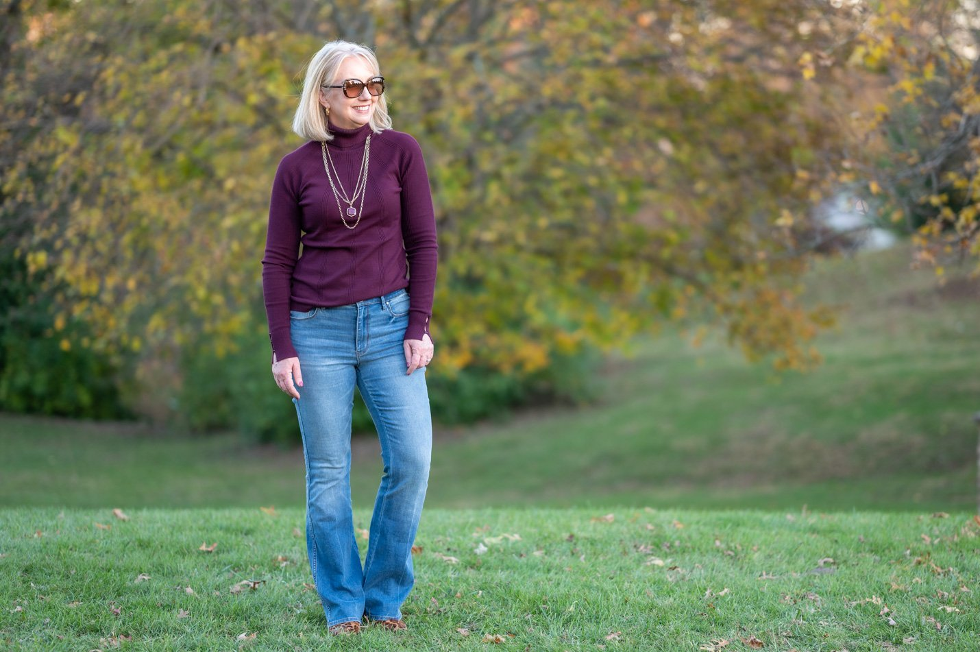 Flare Leg Jeans & Turtleneck Sweater