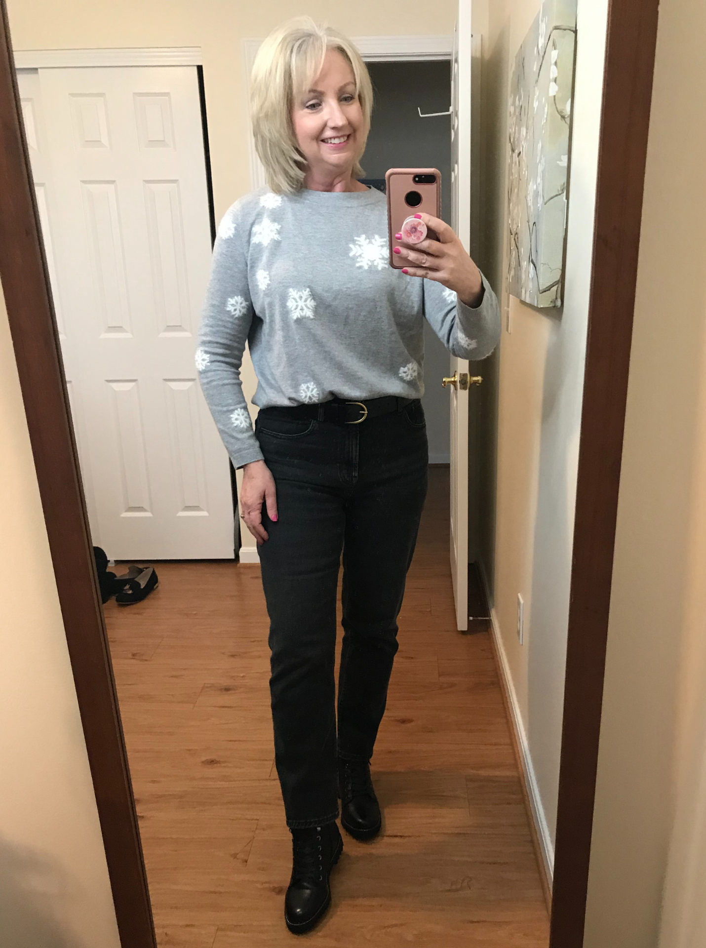 Black Jeans and Snowflake Sweater