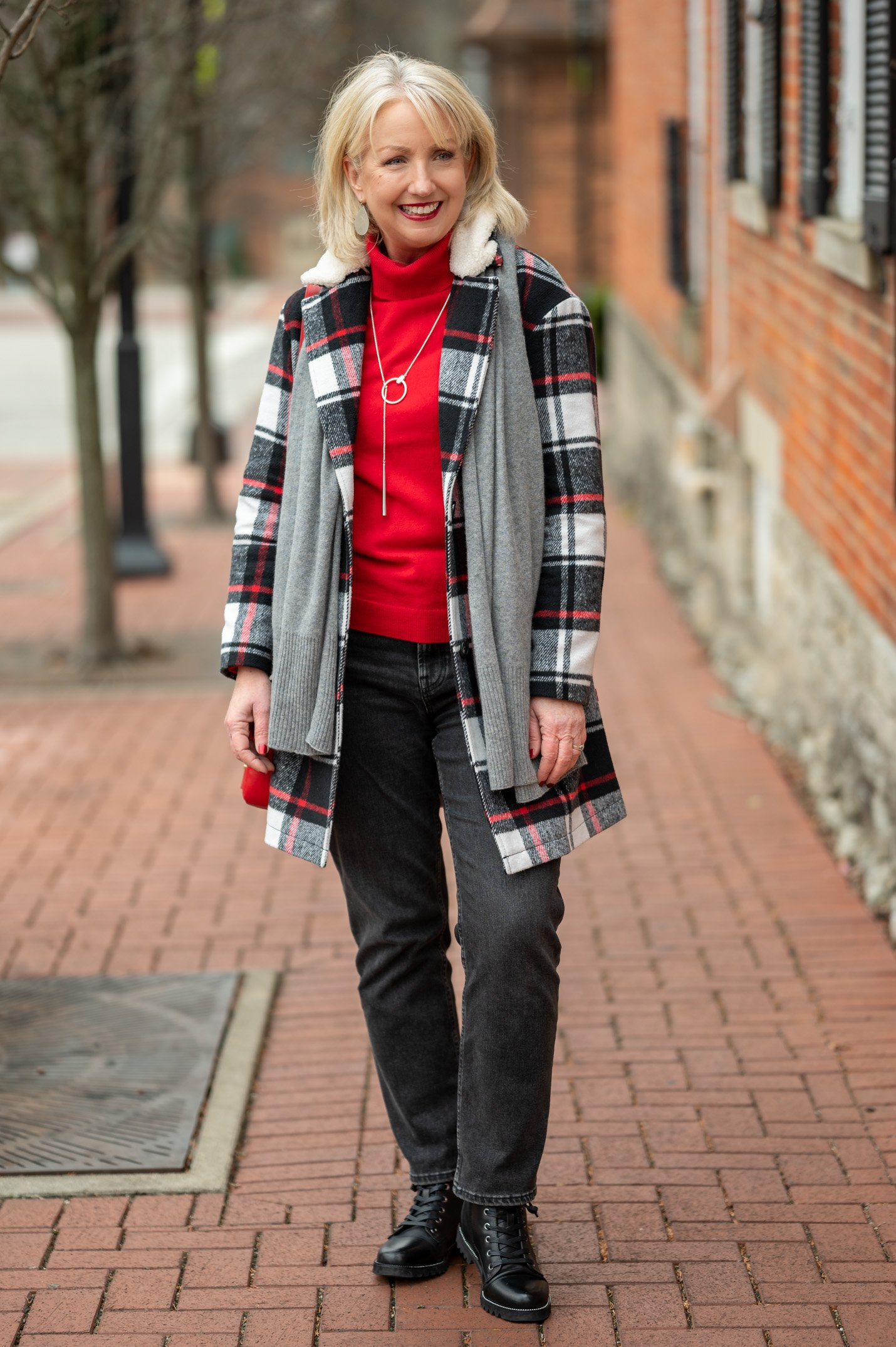 Winter Classics Outfit with Red Accents