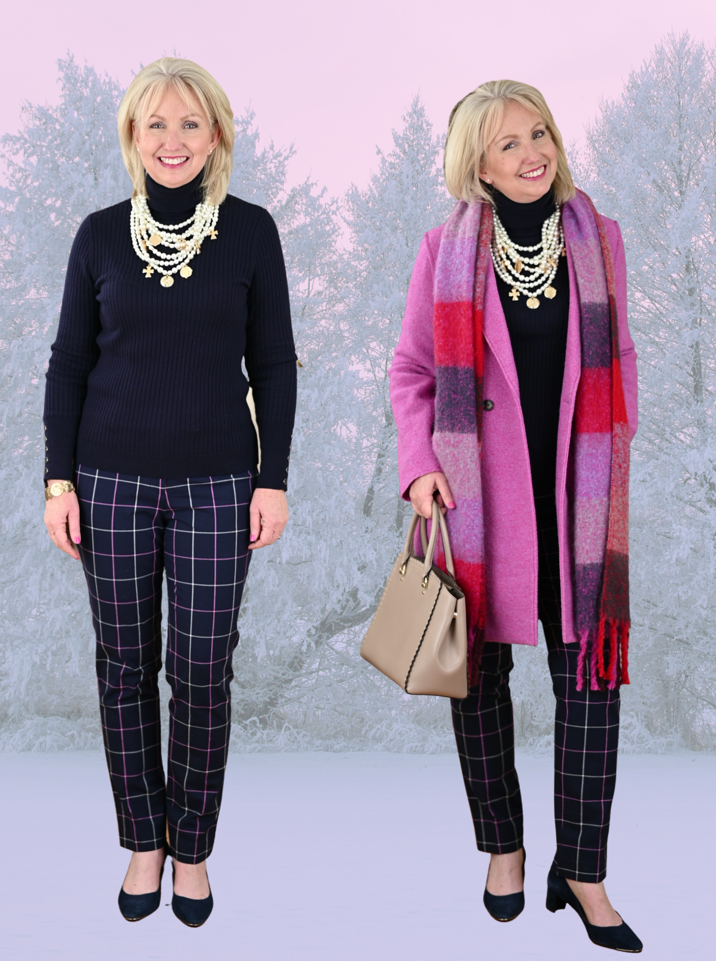 Pink Coat with a Column of Navy