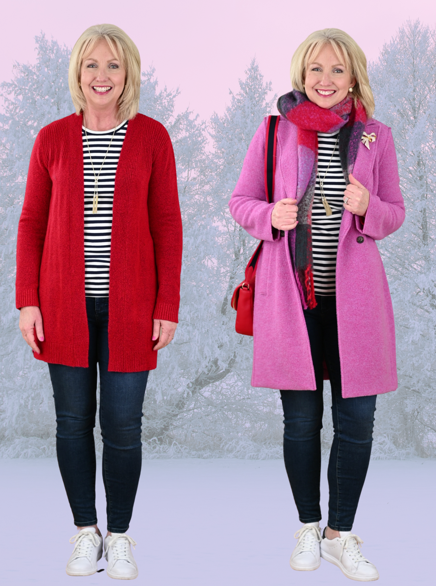 Pink Coat with Blue Jeans Stripe Tee and Red Cardigan