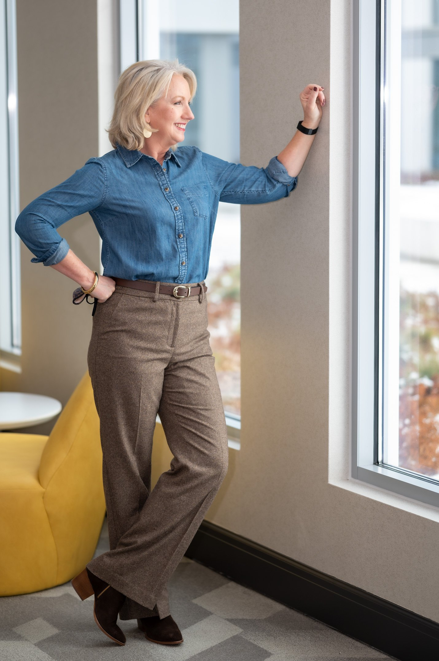 Wool Blend Pants with Chambray Shirt