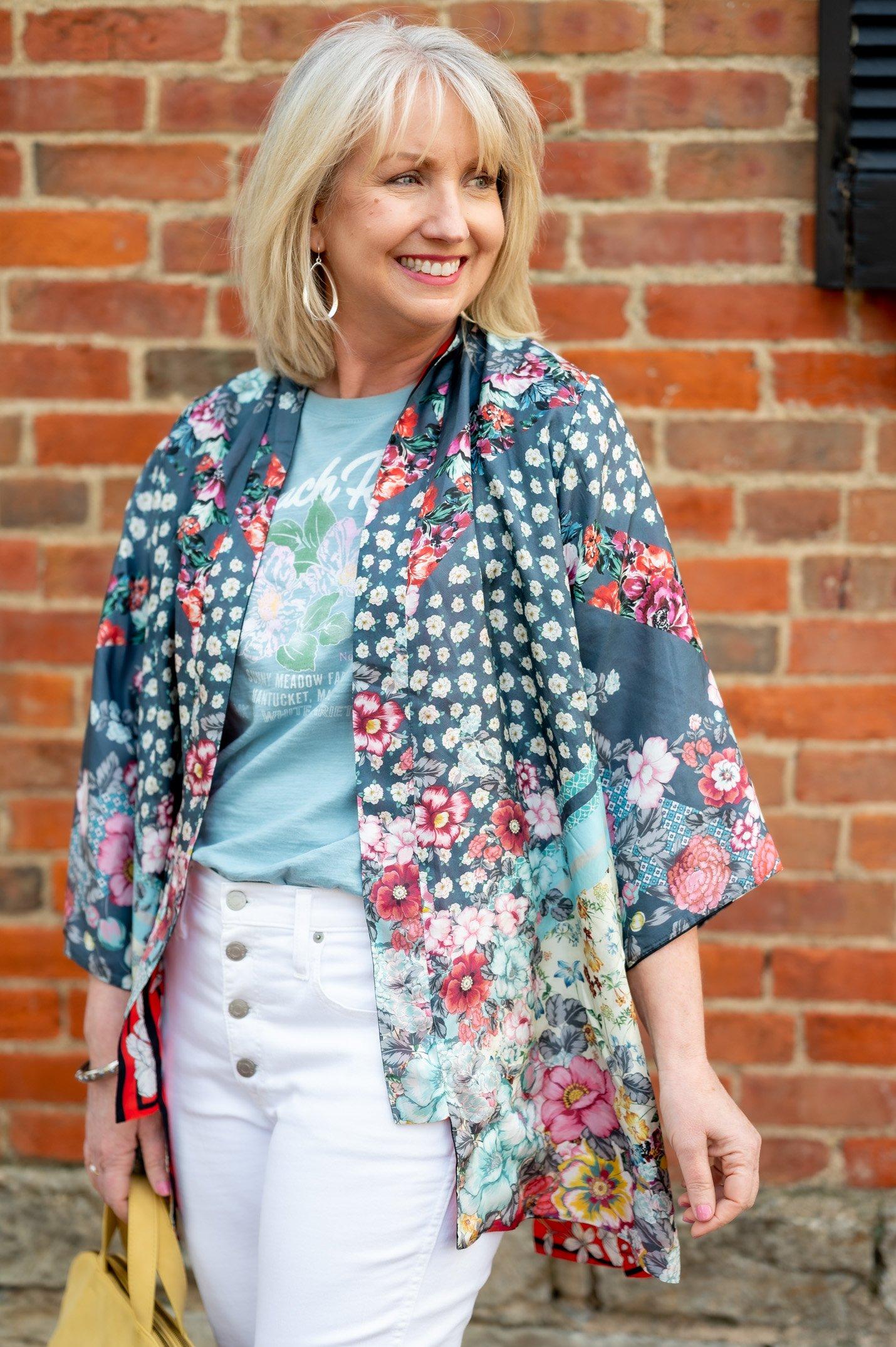 Kimono with Graphic Tee