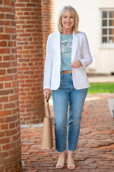 White Linen Blazer Outfit for Spring