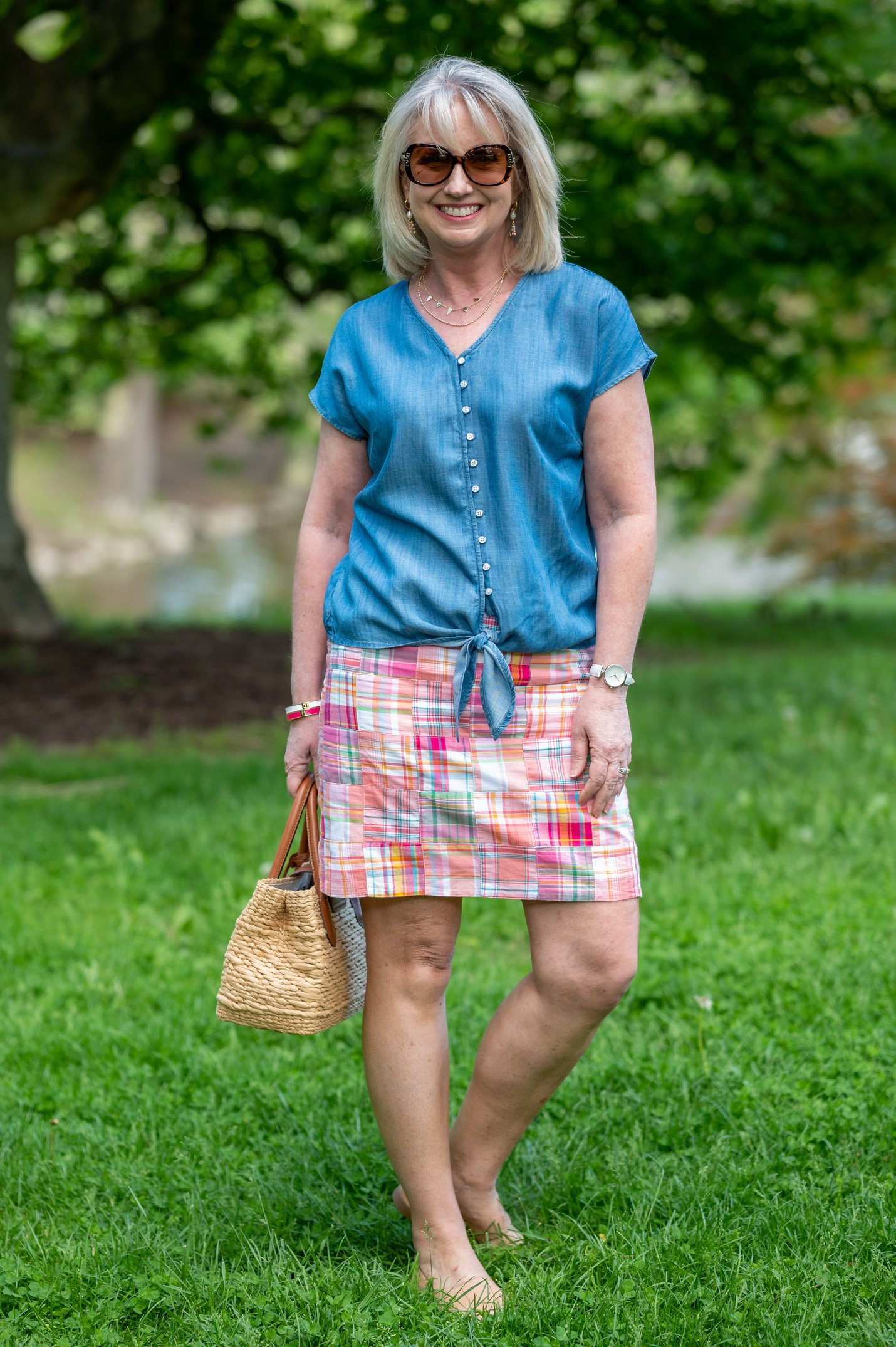 Colorful Skirt with Chambray Top