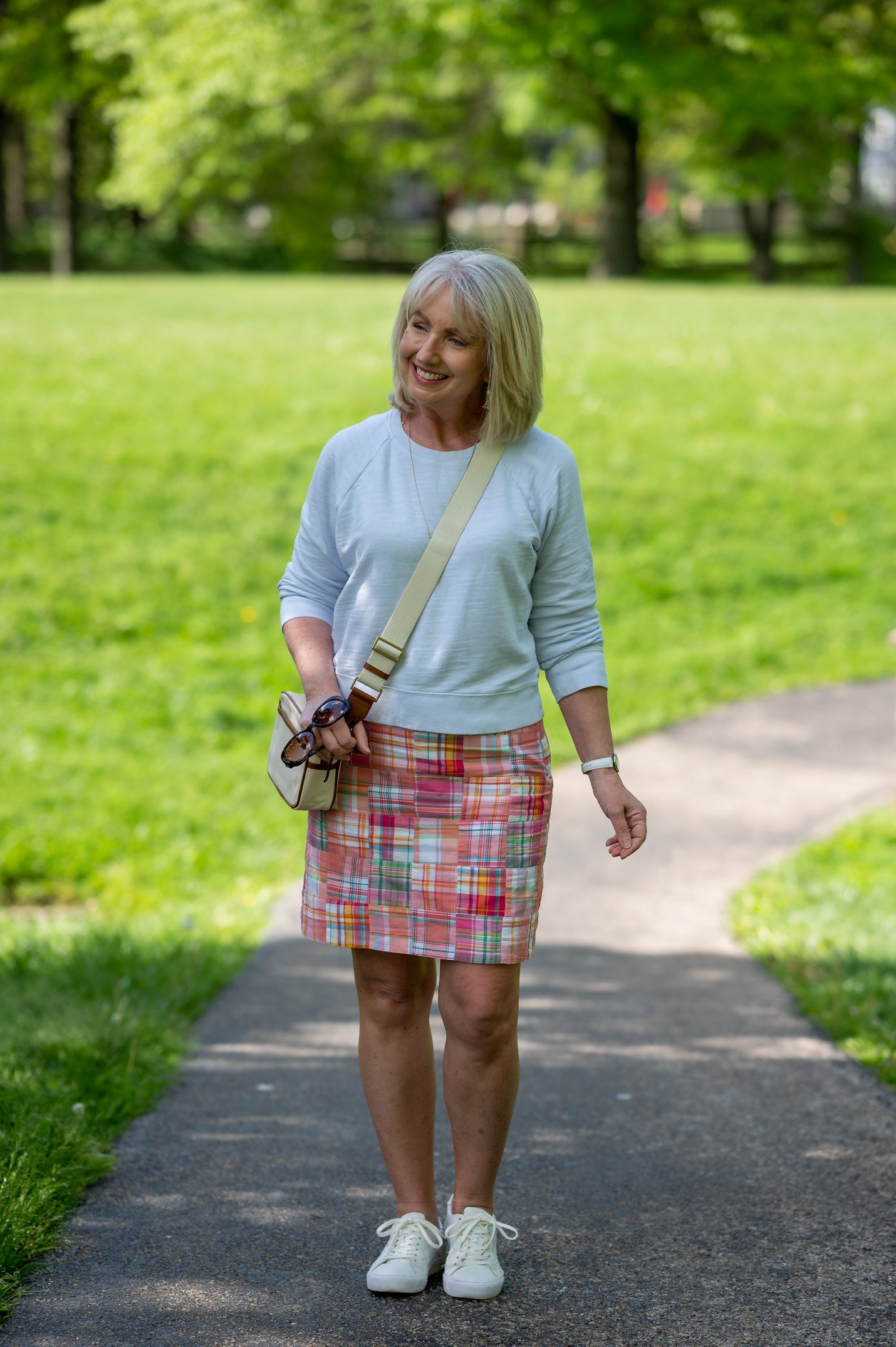Colorful A-Line Skirt with Soft Blue Sweatshirt