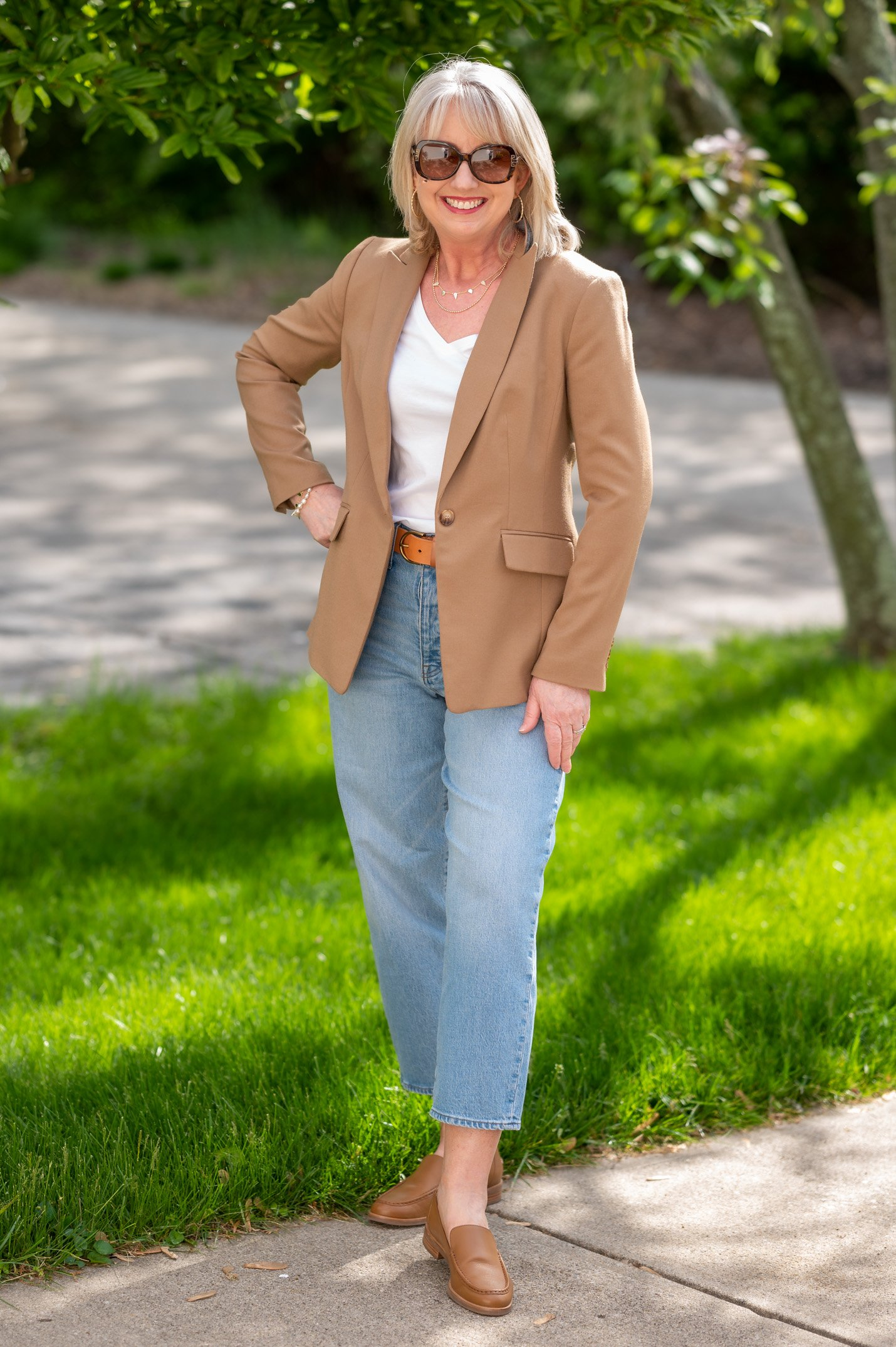 White Tee with Jeans and a Blazer