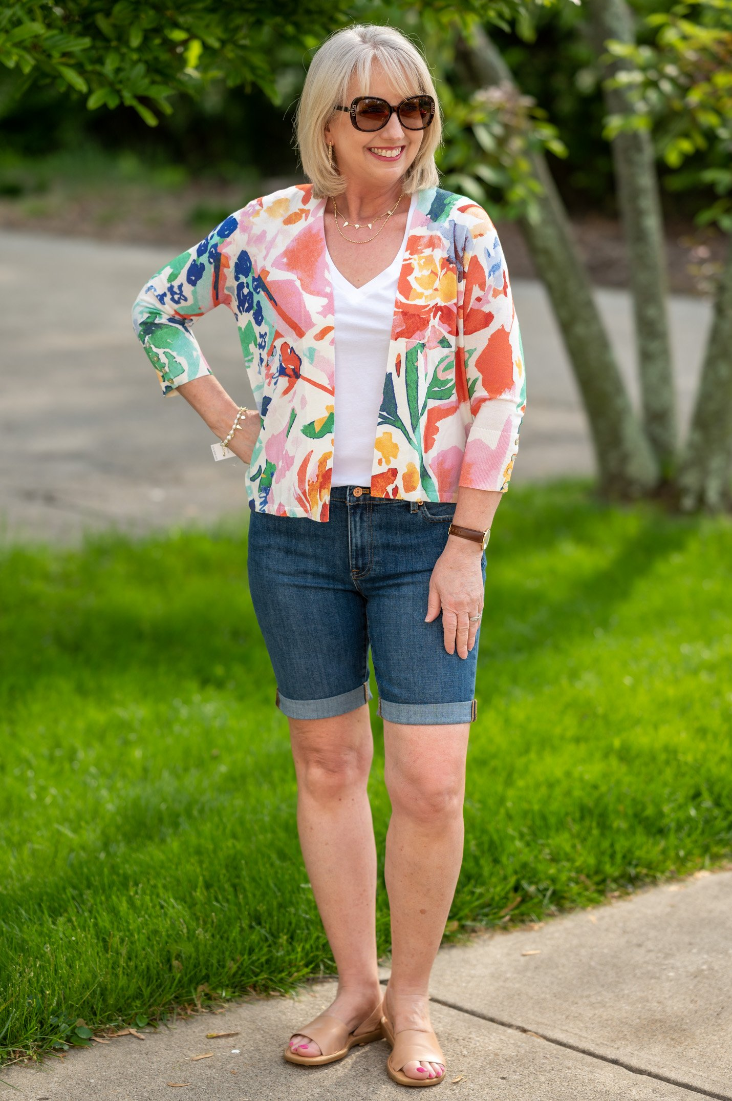 White Tee with Denim Shorts and Floral Cardi