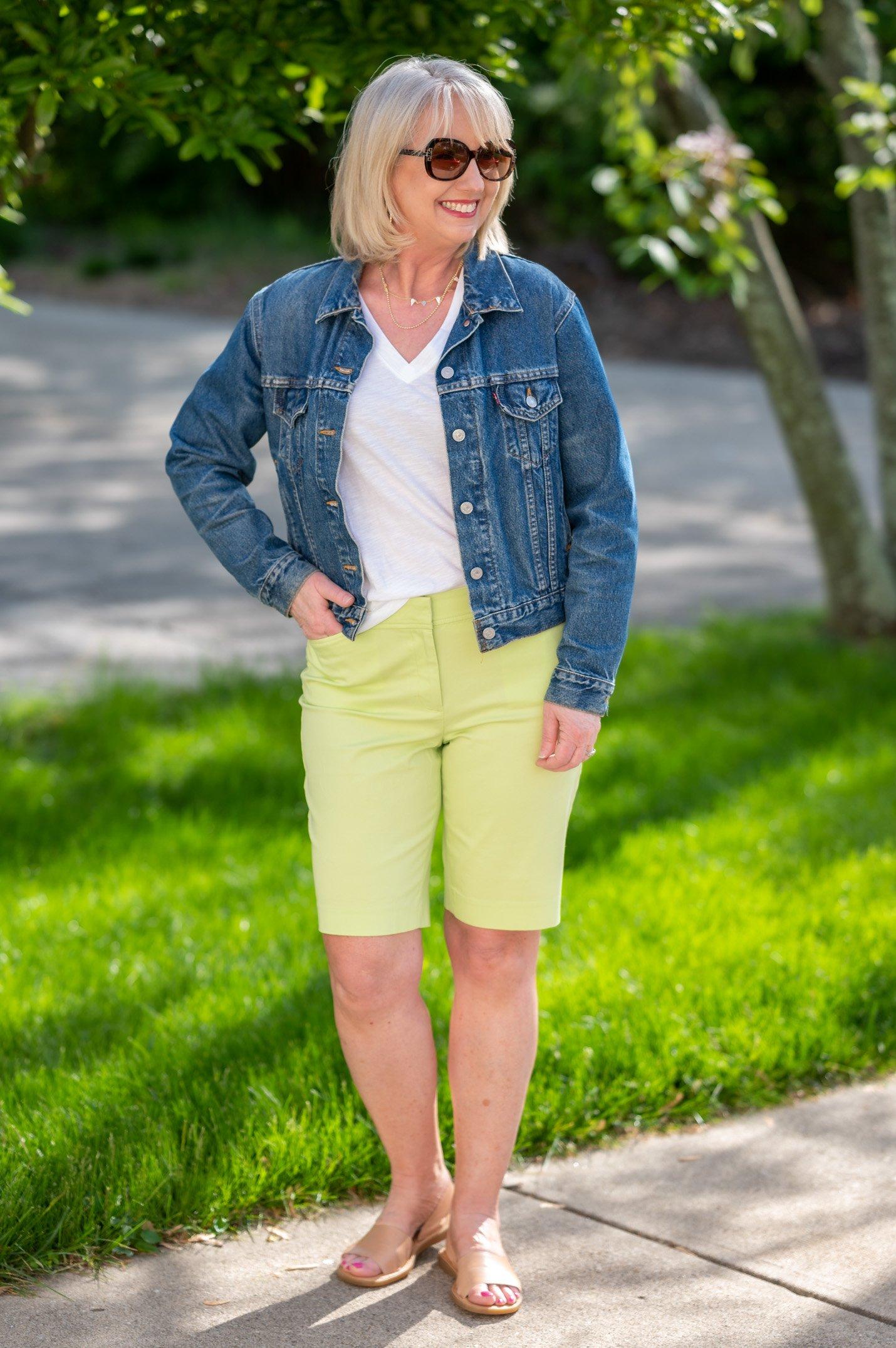 White Tee with Kiwi Green Shorts and Denim Jacket