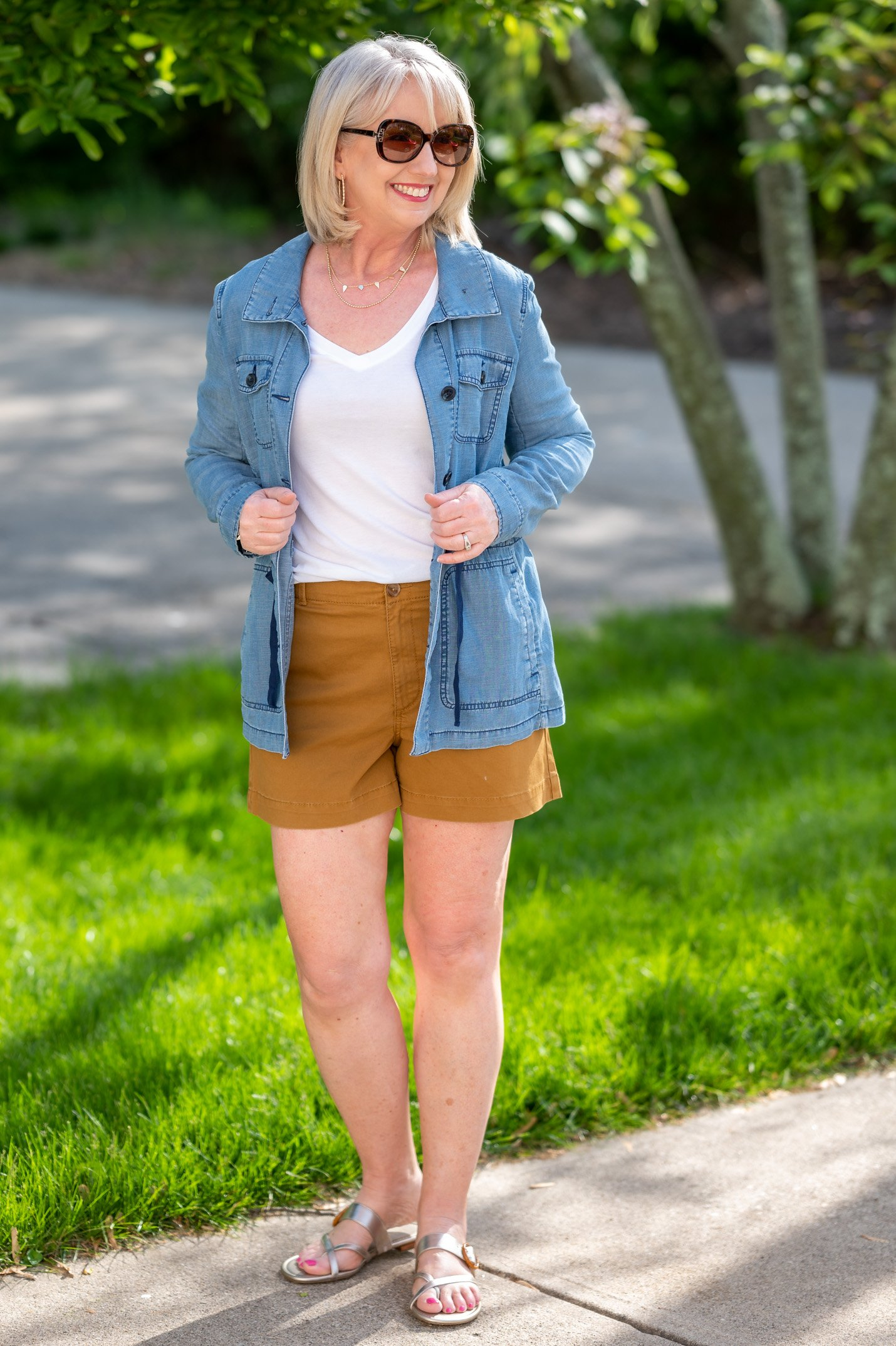 White T-Shirt and Brown Shorts with Chambray Shirt